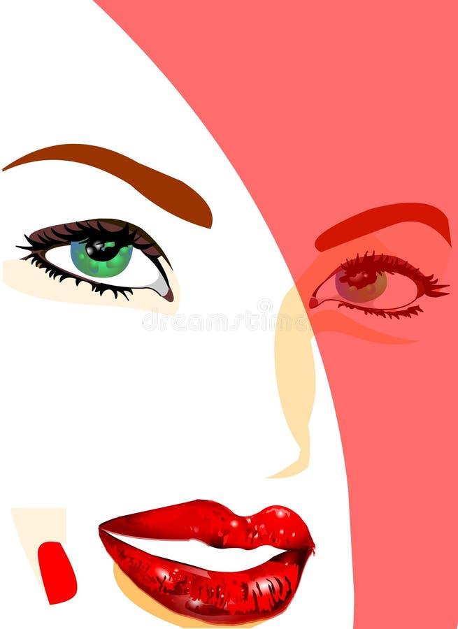 Visage modèle avec le rouge à lievres illustration stock