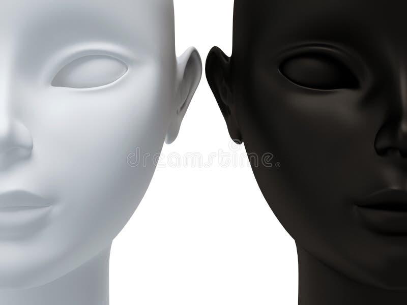 visage noir à moitié blanc illustration libre de droits