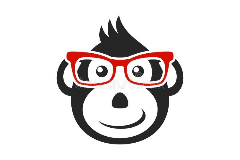 Visage noir de singe de bande dessinée avec les verres rouges d'isolement sur le fond blanc illustration libre de droits