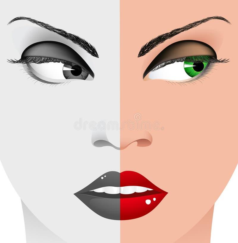 Visage noir et blanc de femme illustration libre de droits