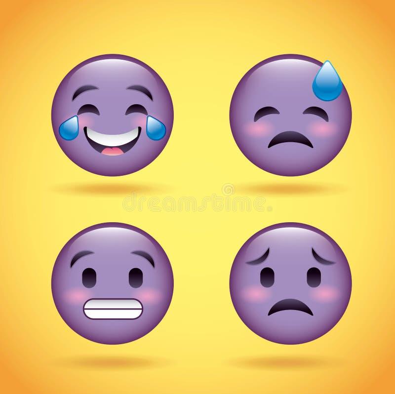 Visage pourpre réglé de smiley avec le personnage de dessin animé drôle d'expression du visage d'émotions illustration stock