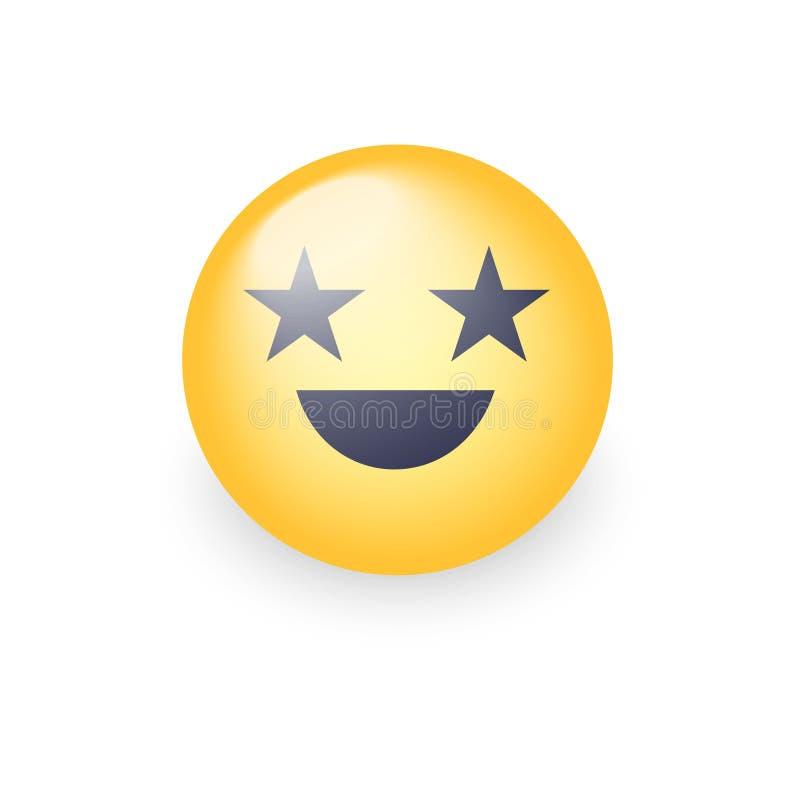 Visage riant heureux d'emoji avec des yeux sous forme d'étoiles illustration de vecteur