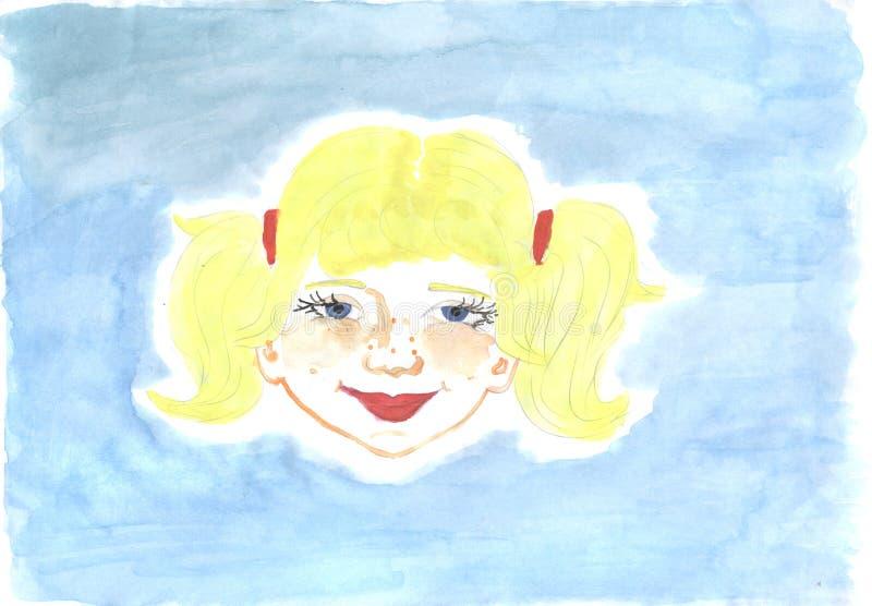 Visage roux de fille, croquis illustration de vecteur