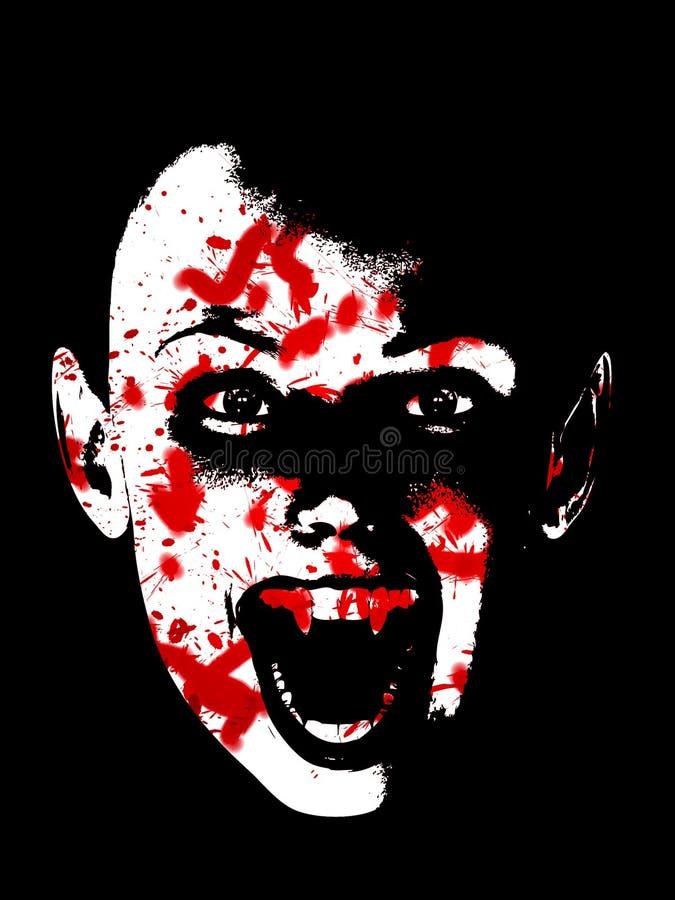 Visage sanglant de vampire illustration de vecteur