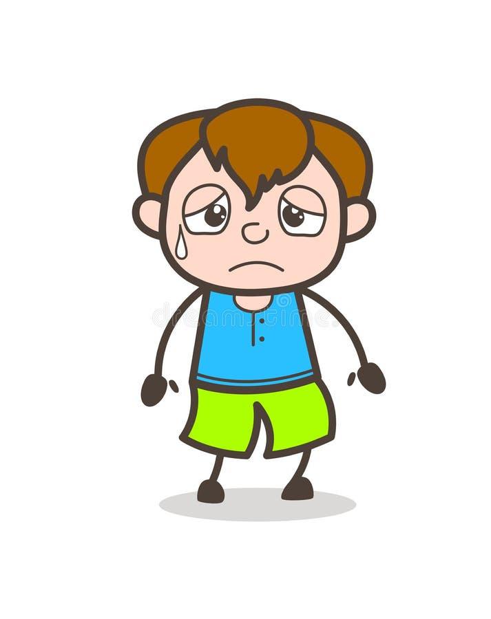 Visage songeur - illustration mignonne de garçon de bande dessinée illustration de vecteur