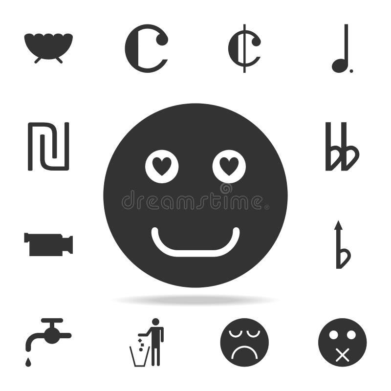 Visage souriant dans l'icône d'amour Ensemble détaillé d'icônes et de signes de Web Conception graphique de la meilleure qualité  illustration de vecteur