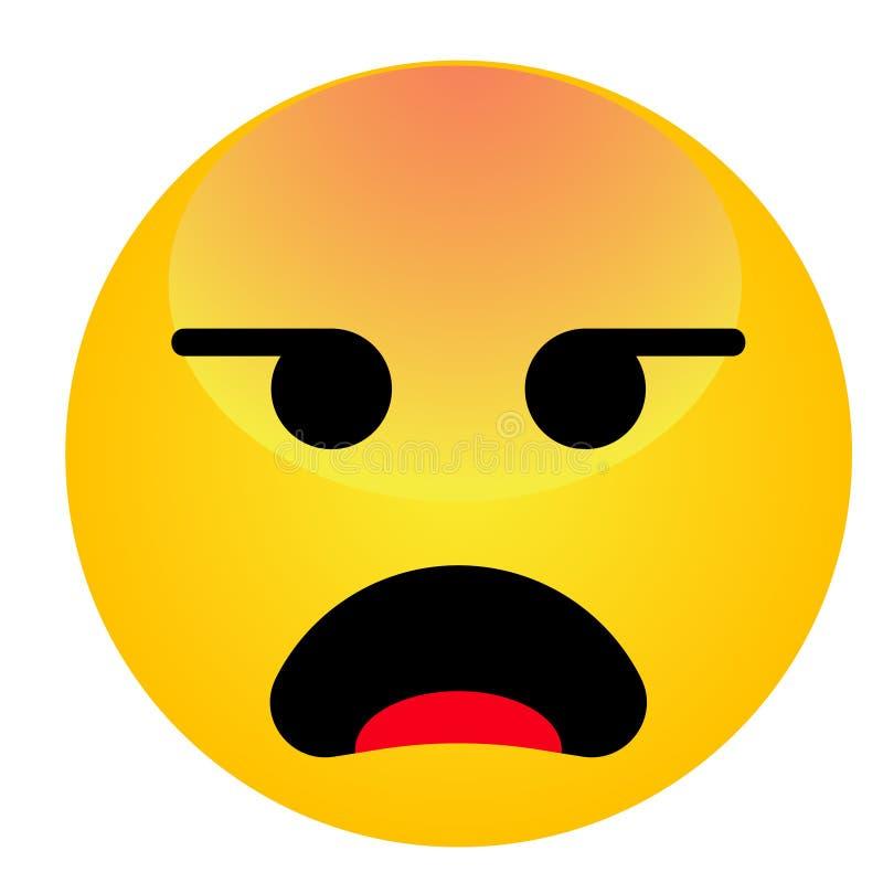 Visage souriant fâché d'emoji Émoticône mignonne contrariée de vecteur de bande dessinée illustration libre de droits