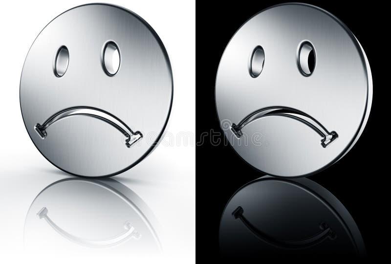 Visage souriant triste sur l'étage blanc et noir illustration de vecteur