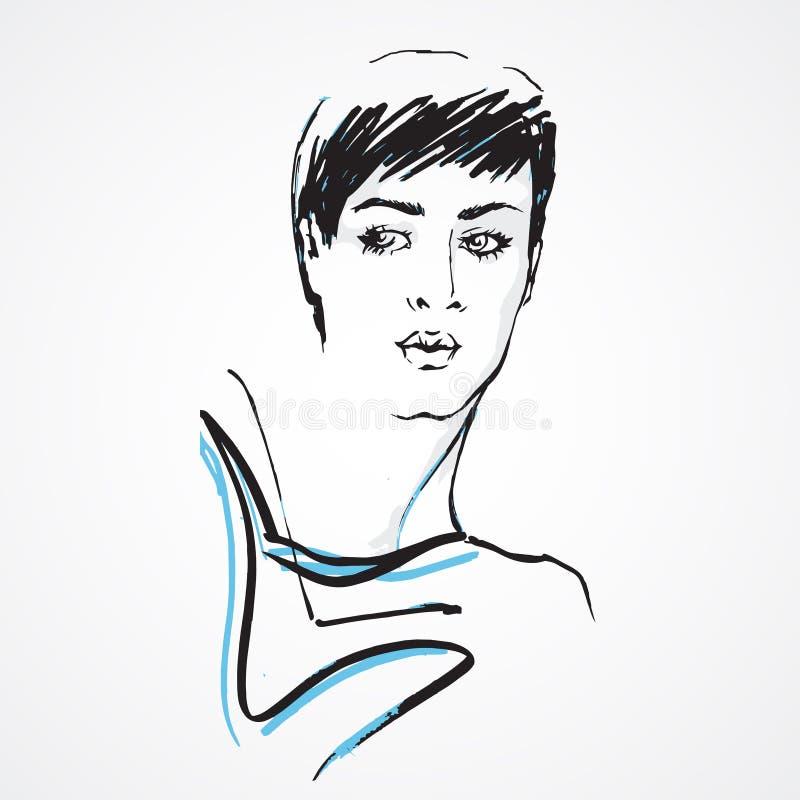 Visage tiré par la main de femme de mode illustration de vecteur