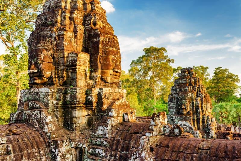 Visage-tours de temple de Bayon à Angkor Thom Siem Reap, Cambodge images stock