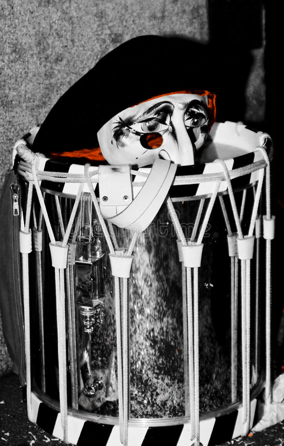 Visage triste de clown sur le tambour images libres de droits