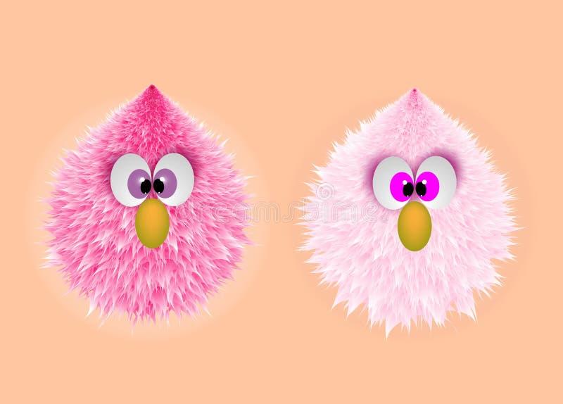 Visage velu de monstre rose drôle de bébé illustration stock