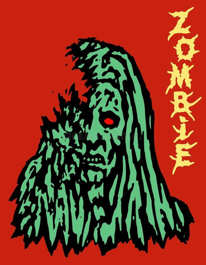 Visage vert cruel de femme de zombi illustration de vecteur