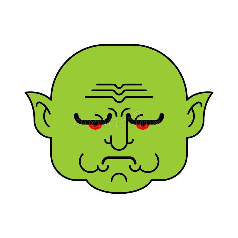 Visage vert grincheux de troll de lutin Chef fâché d'org Illustrat de vecteur illustration de vecteur