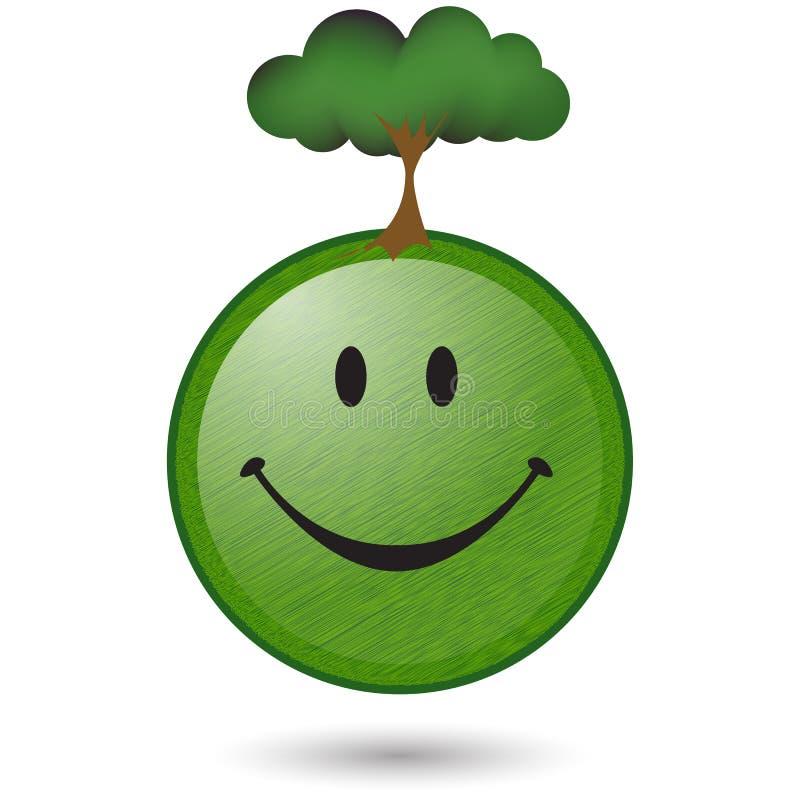Visage vert heureux de smiley d'arbre illustration libre de droits