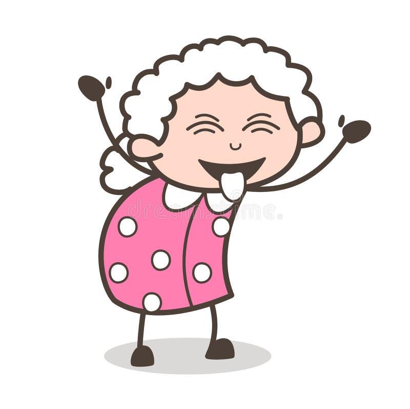 Visage vilain de grand-maman de bande dessinée avec la langue collée- et le vecteur fermé de yeux illustration libre de droits