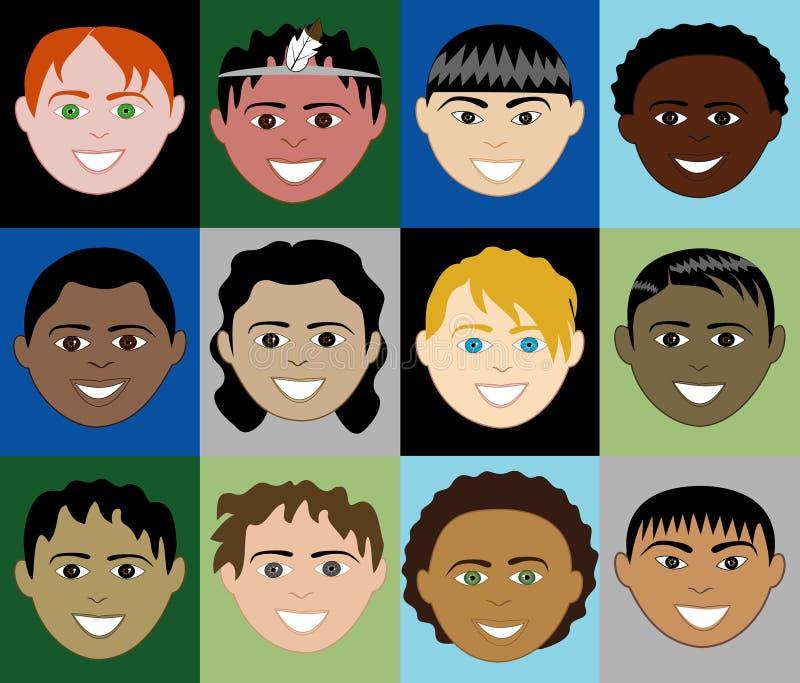 Visages 2 de garçons illustration libre de droits