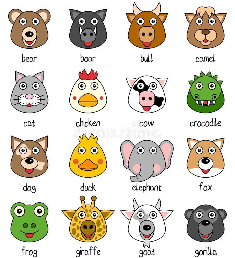 Visages animaux de dessin animé réglés [1] illustration libre de droits