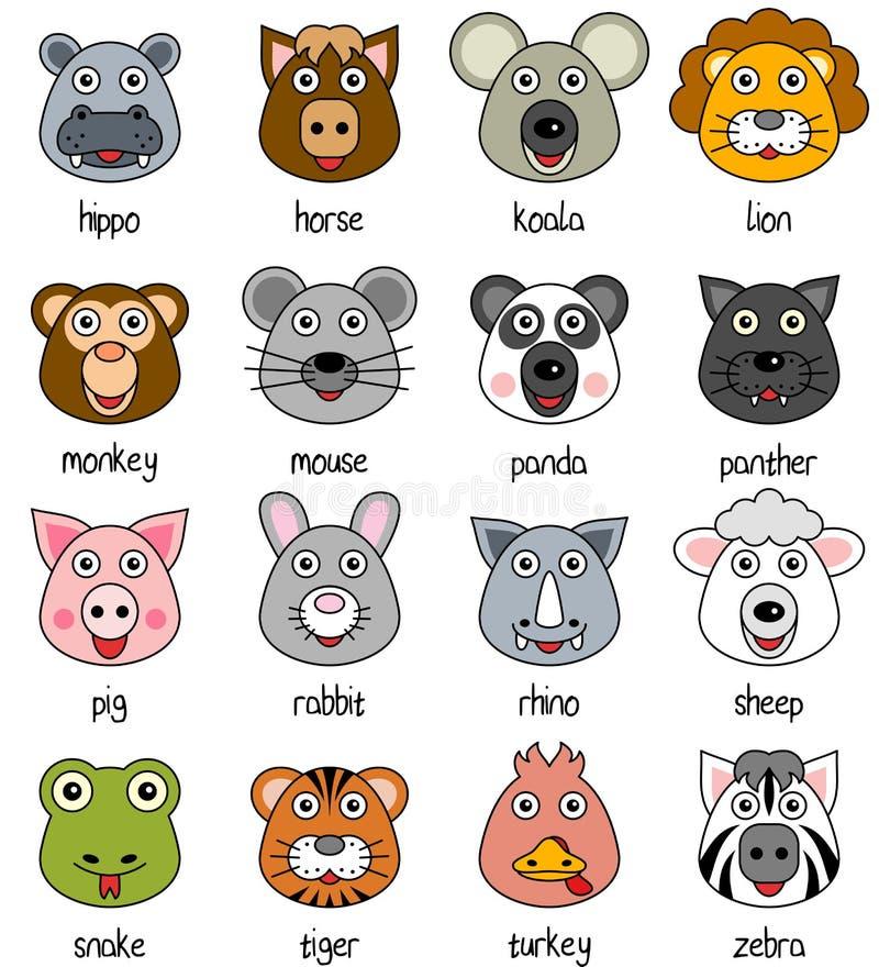 Visages animaux de dessin animé réglés [2] illustration libre de droits