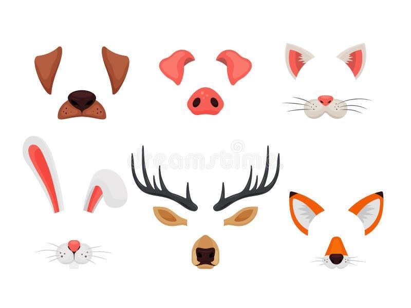 Visages animaux réglés avec des oreilles et des nez d'isolement sur le fond blanc Filtres visuels d'effets et de selfie de causer illustration de vecteur