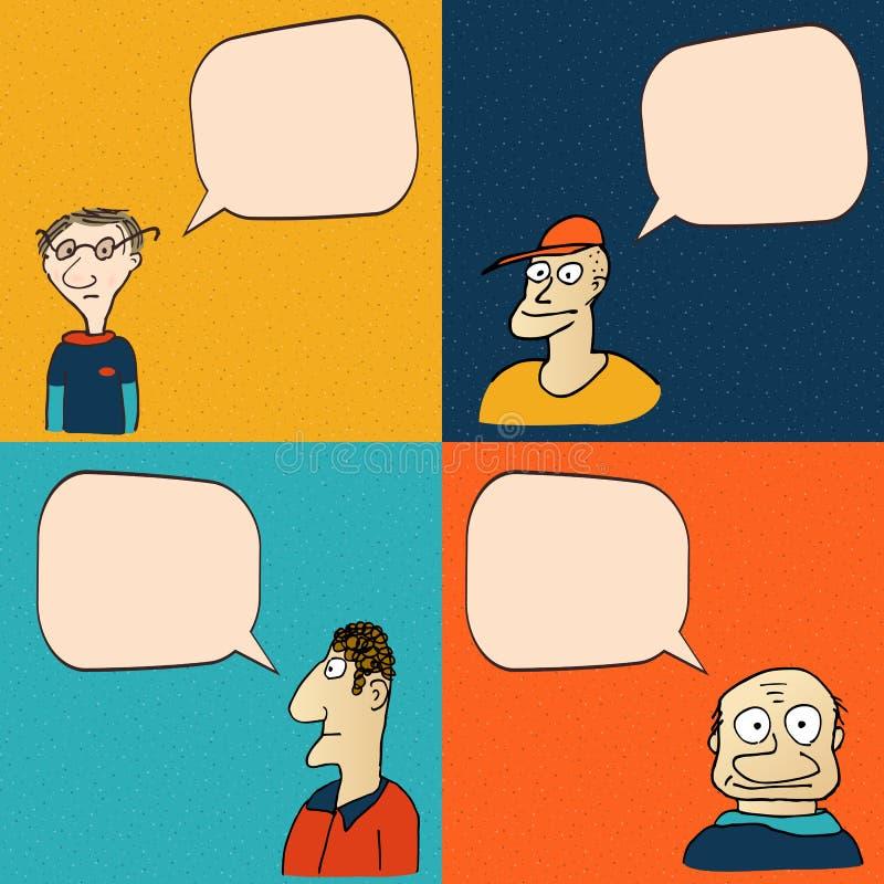 Visages comiques avec des bulles de la parole illustration de vecteur