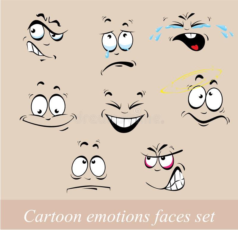 Visages d'émotions de bande dessinée réglés illustration libre de droits