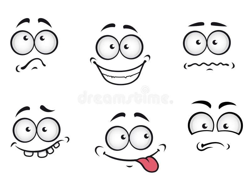 Visages d'émotions de dessin animé illustration stock