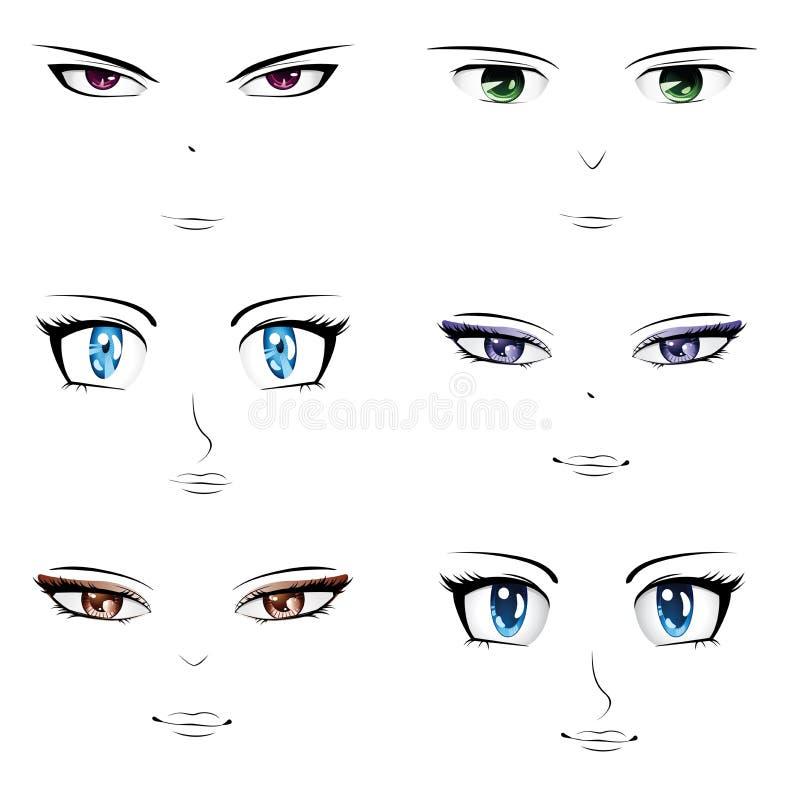 Visages d'Anime illustration de vecteur
