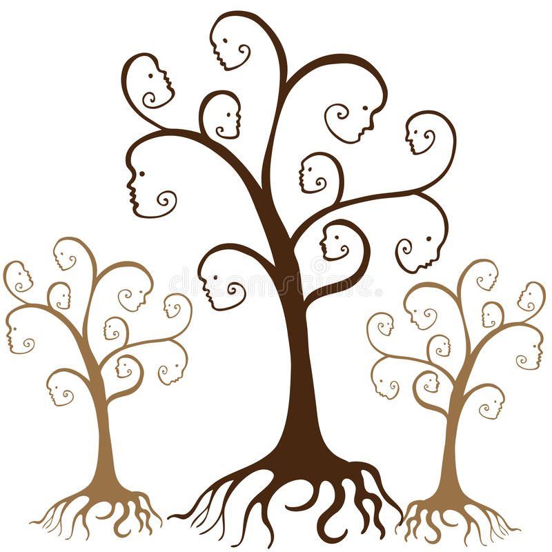 Visages d'arbre généalogique illustration de vecteur