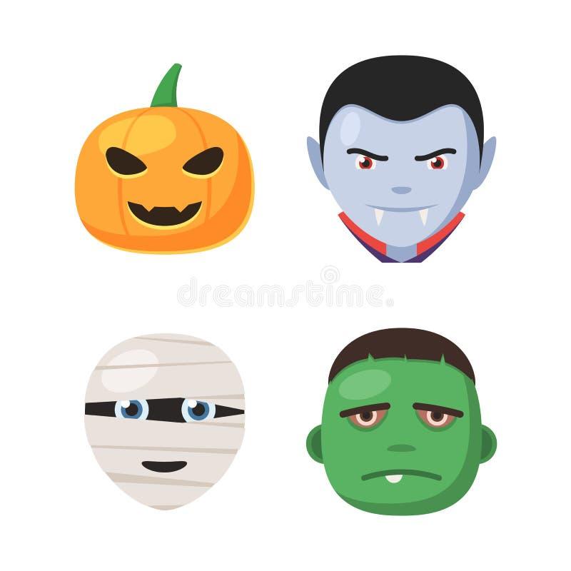 Visages d'avatar de Halloween réglés illustration libre de droits