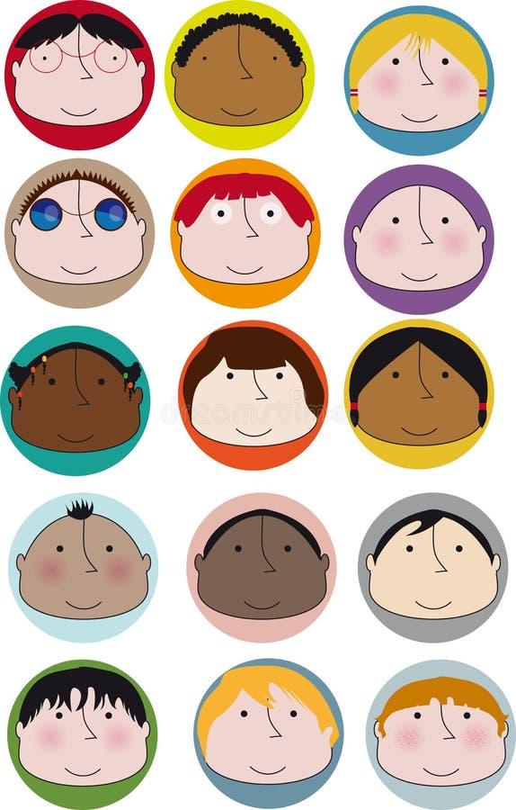 Visages d'enfant en bas âge illustration stock