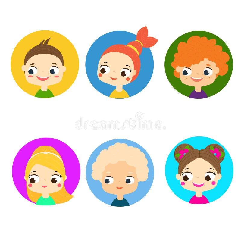 Visages d'enfants de bande dessinée Avatars colorés d'enfants Labels mignons de garçons et de filles, icônes illustration de vecteur