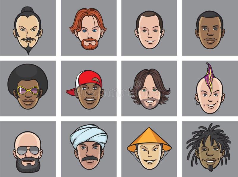 Visages d'excentrique d'avatar de bande dessinée illustration libre de droits