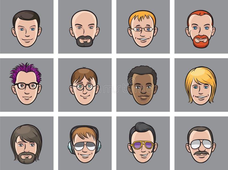 Visages d'hommes d'avatar de bande dessinée illustration stock