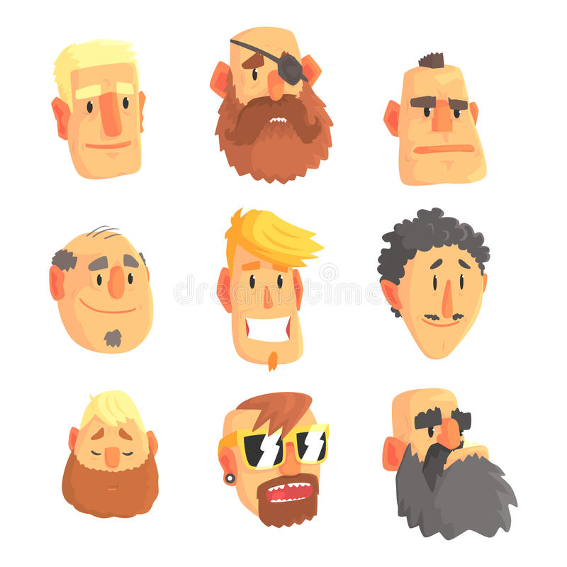 Visages d'hommes d'avatar de bande dessinée avec différentes émotions Ensemble des hommes de différentes nations et professions,  illustration stock