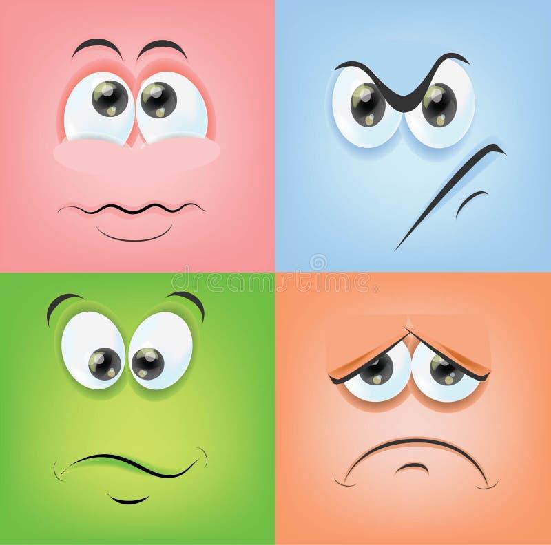 Visages de bande dessinée avec des émotions illustration stock