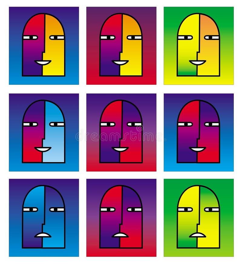 9 visages de bande dessinée d'une personne parlante Porte-parole Émotions et couleurs lumineuses illustration stock
