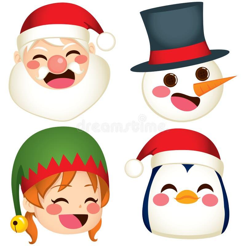 Visages de caractère de Noël illustration de vecteur