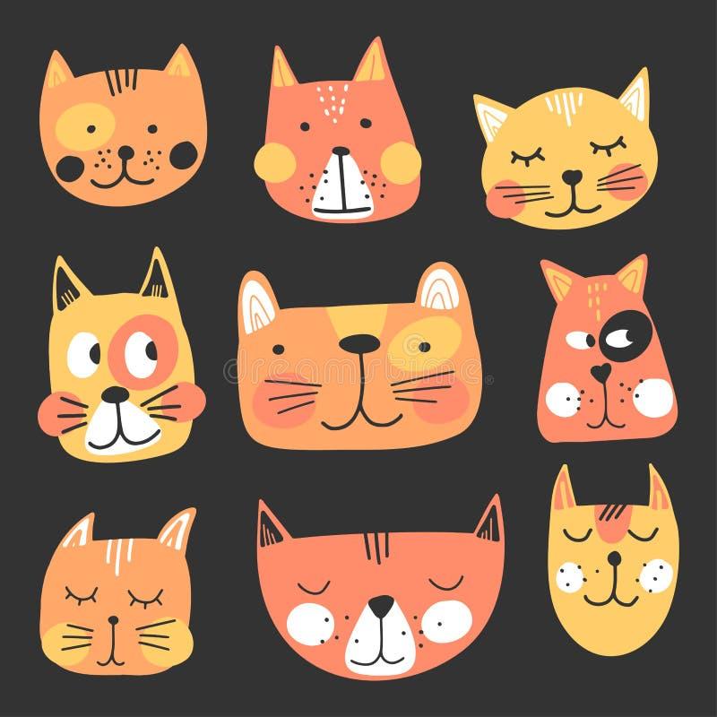 Visages de chats cuits à la main, dessin enfantin Idéal pour t-shirt, affiche, papier d'emballage, décoration Illustration vector illustration stock