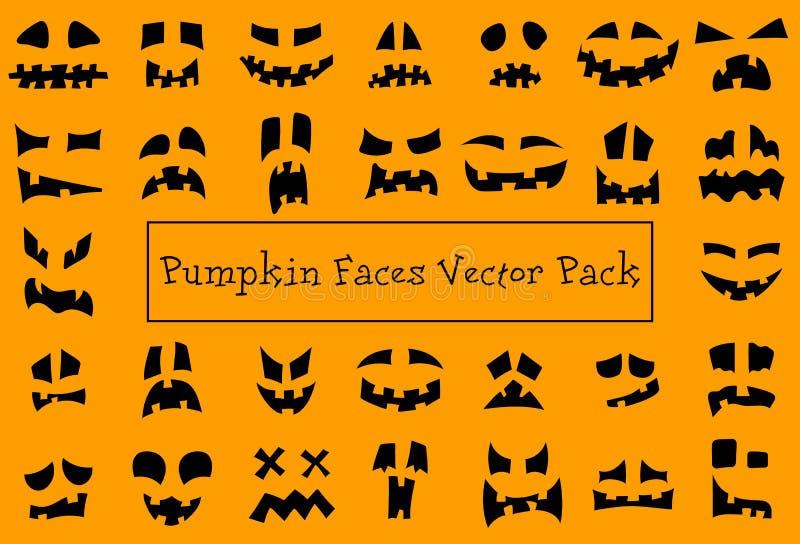Visages de citrouille Silhouettes de la face du valet d'Halloween Monster fantôme sculpter effrayant sourire icônes vectorielles  illustration stock