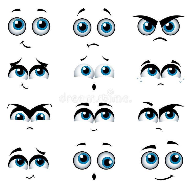 Visages de dessin animé avec de diverses expressions illustration stock