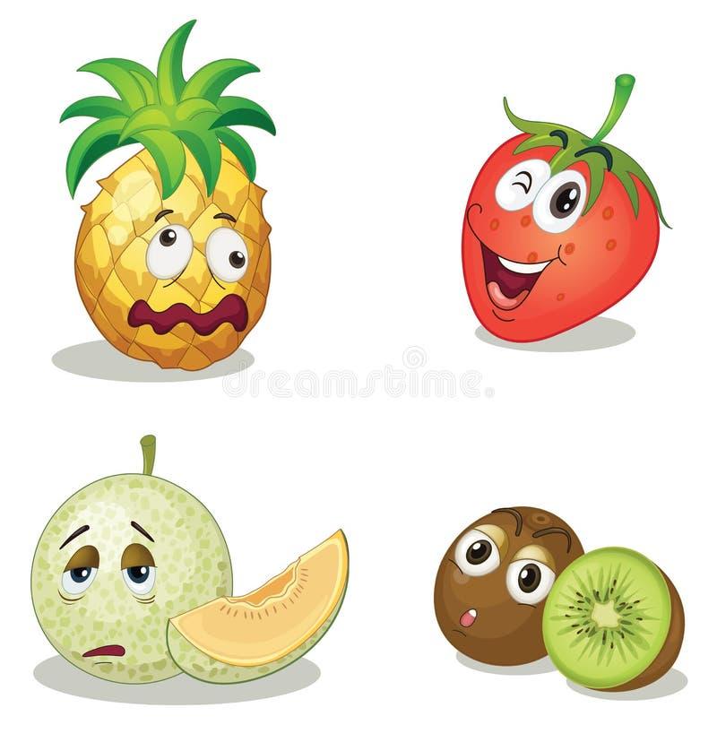 Visages de fruit illustration de vecteur