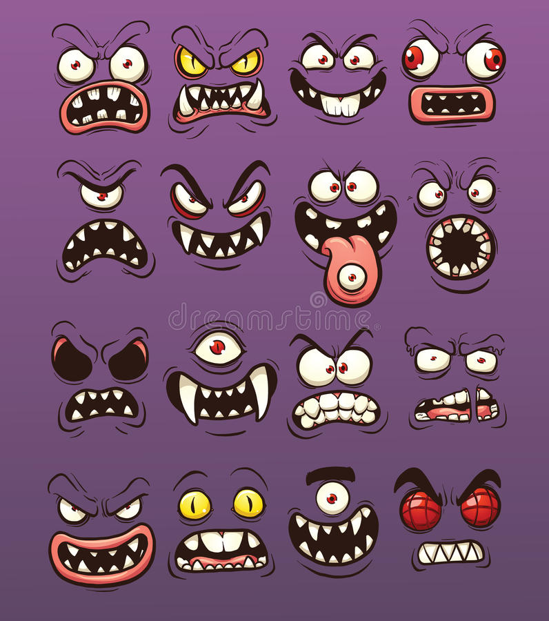 Visages de monstre illustration stock