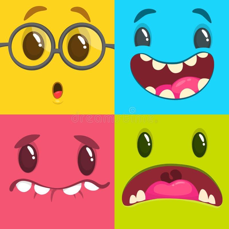 Visages de monstre de bande dessinée réglés Ensemble de vecteur de quatre visages de monstre de Halloween illustration de vecteur