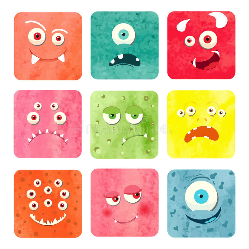 Visages de monstre de bande dessinée d'aquarelle réglés illustration stock