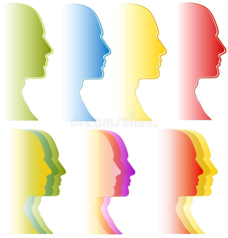 Visages de personnalités multiples illustration libre de droits