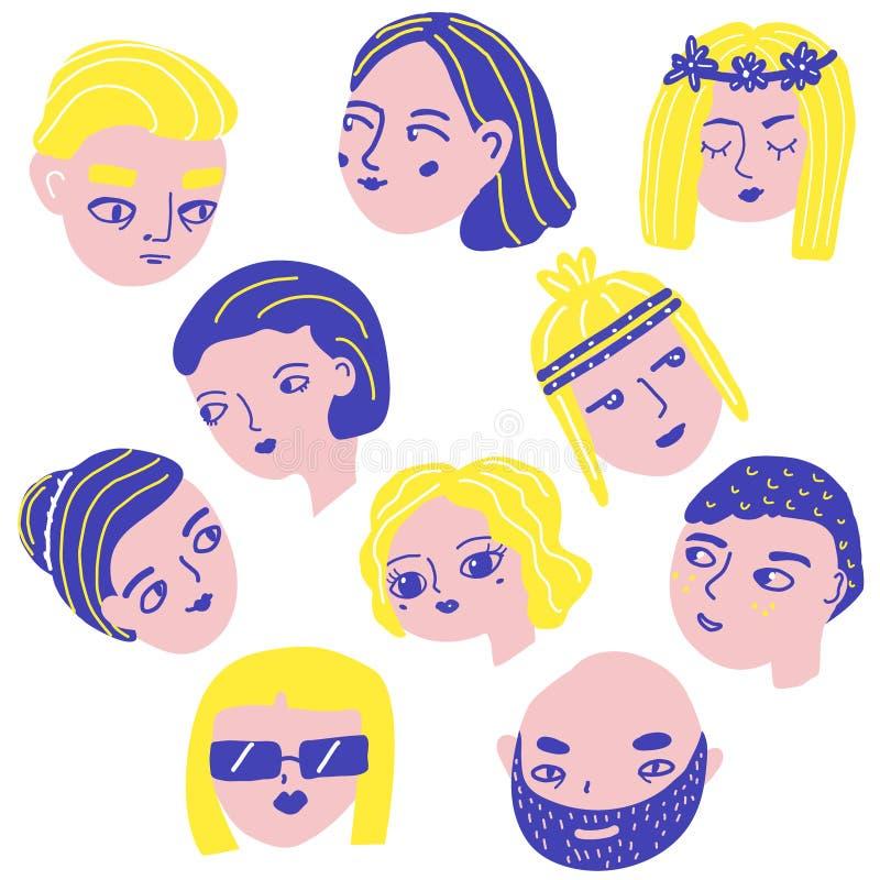 Visages de personnes de griffonnage Avatars d'homme et de femme Mâle drôle et chefs féminins dans le style original Autocollants  illustration de vecteur
