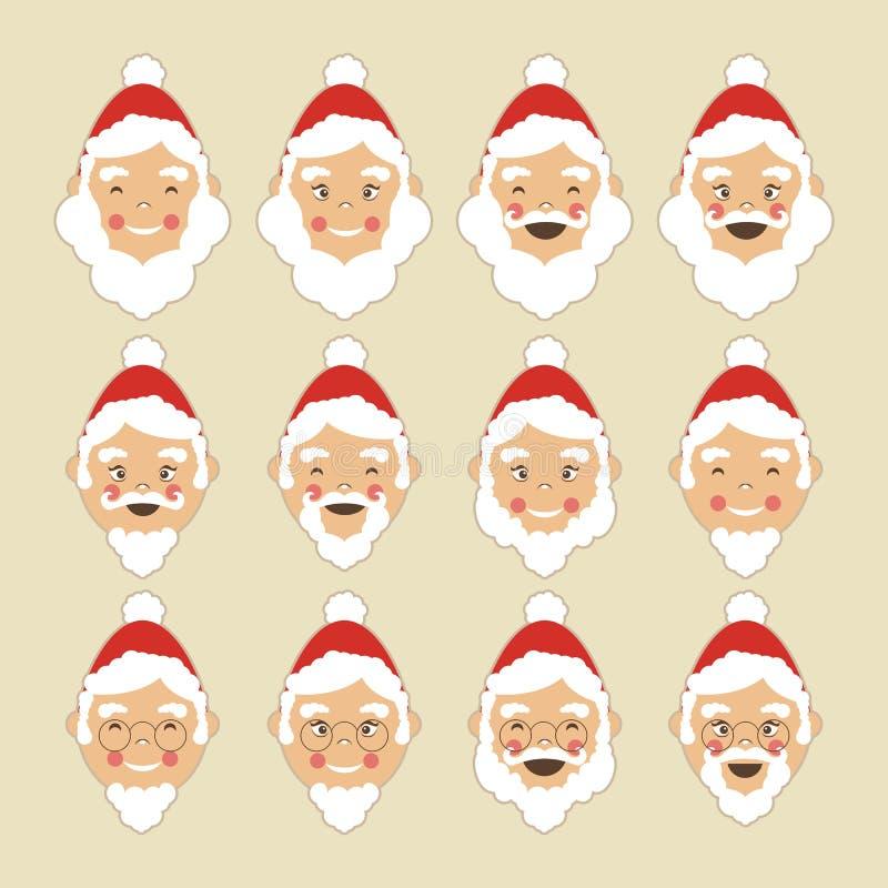 Visages de Santa réglés illustration de vecteur