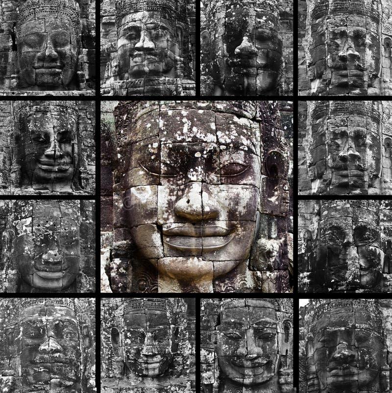 Visages de sourire dans le temple de Bayon images stock