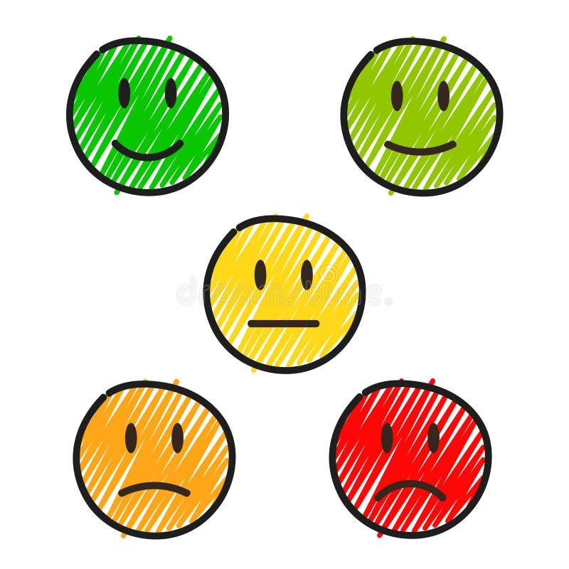 5 visages de sourire de dessin de main, illustration courante de vecteur illustration stock